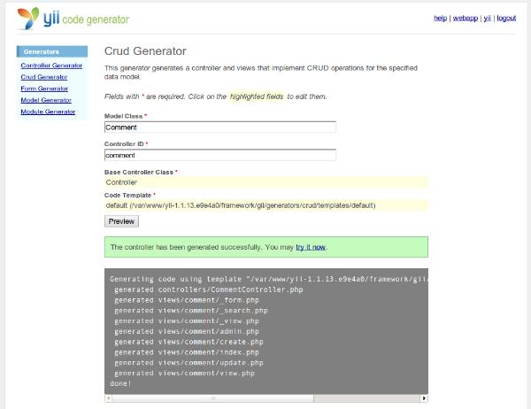 Yii-code-generator